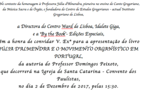 """Hoje apresentação do livro """"Julia D'Almendra e o Movimento Organístico…"""