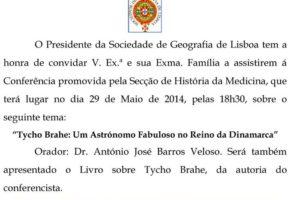 """No próximo dia 29 de Maio, às 18h30, assistam à conferência sobre: """"Tycho Brahe …"""