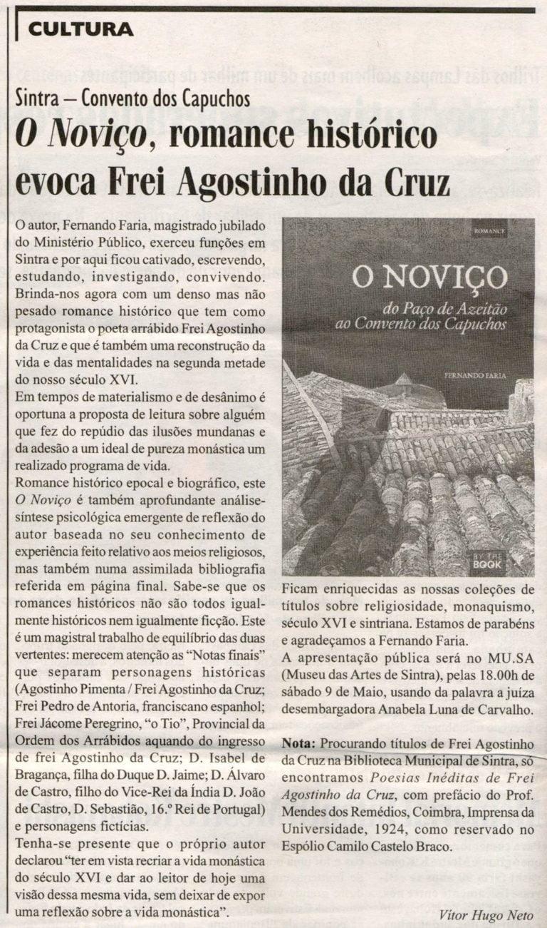 """Um artigo no Jornal de Sintra sobre """"O Noviço""""!"""